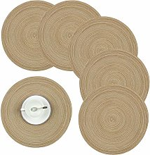 Homcomodar Round Tablemats Set of 6 Heat Resistant