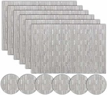 Homcomodar Silver Placemats and Coasters Sets of 6