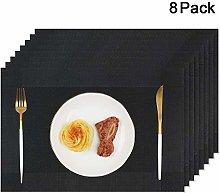 Homcomodar Table Place Mats Black Plastic Woven
