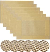 Homcomodar Vinyl Woven Table Place Mats and