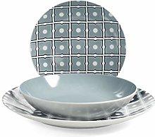 Home 731464 Blue 18-Piece Tableware Set, Porcelain