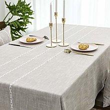 Home Brilliant Striped Tablecloth Faux Linen Table