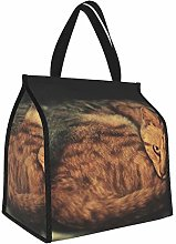 Home Cat Ball Down Striped Gray Lunch Tote Bags