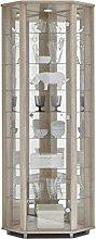 HOME Corner Display Cabinet Oak Effect, 7 Glass