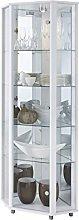 HOME Corner Display Cabinet White, 7 Glass
