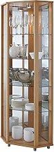 HOME Corner Glass Door Display Cabinet Beech with