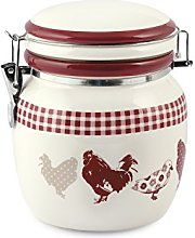 Home Country Cookie Jar, Ceramic, Ivory/Red