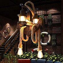 Home Creativity Retro Hemp Rope Pendant Lamp