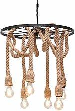 Home Creativity Retro Hemp Rope Pendant Light, 6