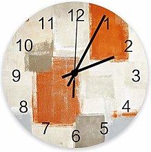 Home Decor 10 Inch Round Wooden Clock, Grey Beige