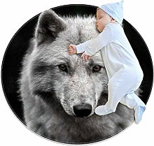 Home Decor Rug Black and white wolf Floor Mat