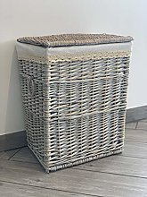 Home Delights Grey Large Shabby Chic Rattan Wicker