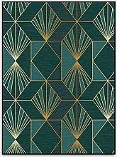 Home Designer Rug Dark Green Golden Geometric