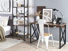 Home Desk Dark Wood Top Black Metal Steel Frame