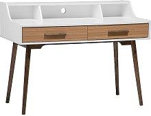 Home Desk White with Dark Wood ALLOA