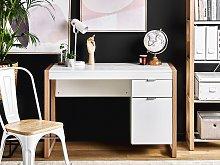 Home Desk White Wooden 110 x 50 cm Drawer Storage