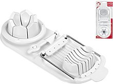 Home Double Egg Slicer, Plastic, white, 12 x 5 x