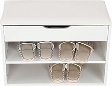 Home Entryway Hallway Shoe Bench, Shoe Rack with 2