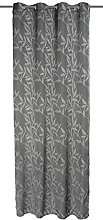 Home fashion 51271-803 Eyelet Curtain with Leaves
