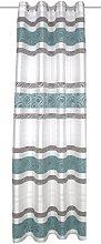 Home Fashion Eyelet Curtain, Fabric, Petrol, 245 x