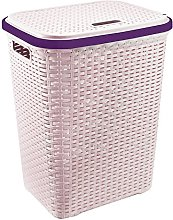 Home In Style 56L Plastic Rattan Laundry Basket
