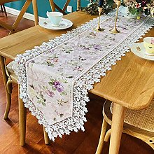 Home Kitchen Table Runners White Lace Hessian