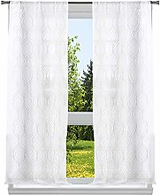 Home Maison Embroidered Sheer Curtain Set, White,