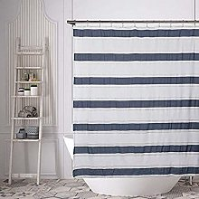 Home Maison shower curtain, White-Navy, 72x72