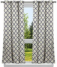 Home Maison Solid Window Curtain Set, Navy, 37x84