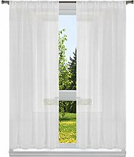 Home Maison Solid Window Curtain Set, White-Gold,