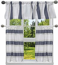 Home Maison Stripe Kitchen Curtain & Tier Set,
