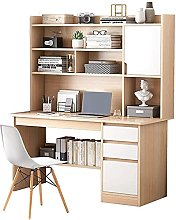 Home Office Bookshelf Computer Desk with Drawers