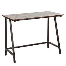 Home Office Desk 100 x 50 cm Dark Wood with Black