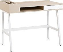 Home Office Desk 100 x 55 cm Light Wood and White