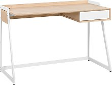 Home Office Desk 120 x 60 cm Light Wood and White