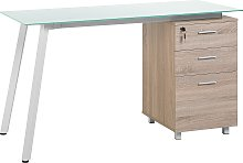 Home Office Desk 130 x 60 cm Light Wood and White