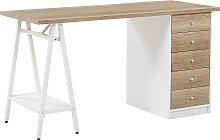 Home Office Desk 140 x 60 cm Light Wood HEBER