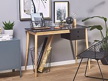 Home Office Desk Black and Light Wood MDF Wood 106