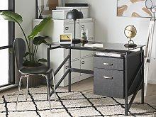 Home Office Desk Black Metal Frame Tempered Glass