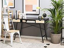 Home Office Desk Black with Light Wood Metal Frame