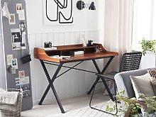 Home Office Desk Dark Wood and Black Metal Frame