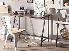 Home Office Desk Dark Wood Black Iron Frame 100 x