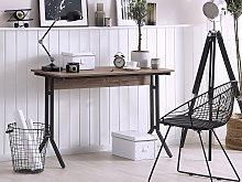 Home Office Desk Dark Wood Tabletop Black Powder