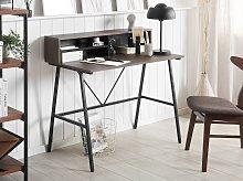 Home Office Desk Dark Wood Top 100 x 50 cm Black