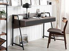 Home Office Desk Dark Wood Top 120 x 50 cm Black