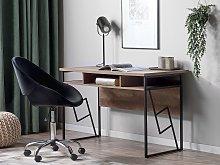 Home Office Desk Dark Wood Top Black Metal Frame