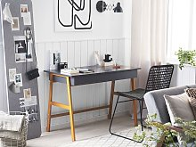 Home Office Desk Grey and Gold Metal Frame 110 x