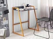 Home Office Desk Grey and Gold Metal Frame 73 x 47