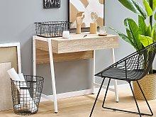 Home Office Desk Light Wood Tabletop White Powder
