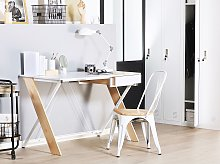 Home Office Desk White 120 x 60 cm with Light Wood